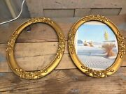 Pair Of Vintage Wooden Oval Picture Frames Gold Roses 12-1/2andrdquo X 9-3/4andrdquo