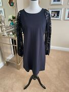 Lily Pulitzer Black Dress With Lace Sleeves, Size L, Nwt