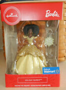Hallmark 2020 Holiday Barbie African American Gold Dress Red Box Ornament