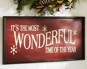 Pottery Barn Itand039s The Most Wonderful Time Of The Year Sign - Red Christmas 🎄