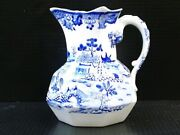 7215----c.1840 Masons Ironstone Pitcher - Willow Pattern - Id From Godden Book
