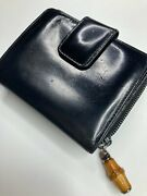 Vintage Old Bamboo Zip Around Canvas Patent Leather Wallet Purse Italy
