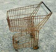 Antique Vtg Steel Grocery Shopping Cart Carriage 1940's Industrial Decor Large