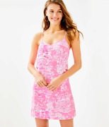 Rare Holy Grail Lilly Pulitzer Pop Up Skinny Dippin Dusk Silk Pink Sorbet Dress