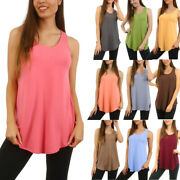 Womens Loose Fit Tank Top Scoop Neck Long Sleeveless Tunic Shirt Plus Size S M L
