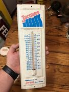 Vintage Jacques Seed Corn Thermometer Dealer Tin Sign Farm Feed Seed Corn Works
