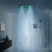 High Quality Plating Black Stainless Steel 304 Led Shower Head Set With Button T