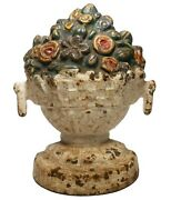 Mid-late 19th C American Antique Cast Iron Urn/floral Bouquet Doorstop Orig Pnt