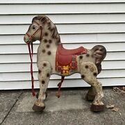 Vintage Antique Mobo Bronco Kids Ride On Horse Spotted Made In England