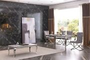Marble 130 160 180 Cm Dining Table With 6 Velvet Chairs Black Cream Grey White