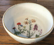Louis Lourioux Le Faune Wildflower 8 3/4andrdquo Round Serving Bowl With Gold Edge Exc