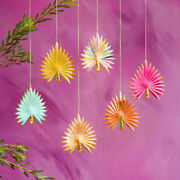 New Glitterville Multi Color Gold Palm Tree Frond 6 Christmas Tree Ornament Set