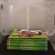 Leap Frog Tag Purple 8 Books Carrying Case W/ Usb Cord Tested
