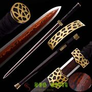 Archaize Chinese Kungfu Sword Eight Sided Hanjian Red Folded Pattern Steel Sharp