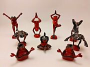 Neil Eyre Designs Flambe Black And Red Yoga Tree Frogs Mint Rare Set Of 9 Signed