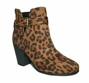 Womens Time And Tru Leopard Print Booties Med And Wide Width 6,6w,7,7.5,7.5w,8,8.5w