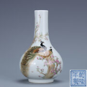 5.3 Old Chinese Porcelain Qing Dynasty Qianlong Mark Famille Rose Peacock Vase