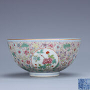 5.9 Old Chinese Porcelain Qing Dynasty Qianlong Mark Window Flower Plants Bowl