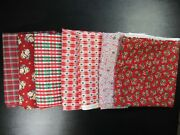 Christmas Cotton Quilting Fabric Lot 12 Yards Candy Cane Plaid Santa Tree
