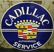 42 Round Cadillac Service Sign Die Cut Aluminum Reproduction Signs / Gas And Oil