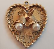 Vintage 14k Gold Pearl And Sapphire Christmas Bells Heart Shape Pendant 639