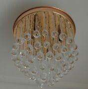 Murano Venini Tear Drops Crystal Glass Chandelier Gold Plated 4 Light