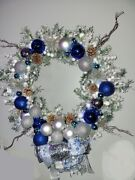 Lighted Snow Frosted 18 Blue And Silver Christmas Wreath Ornaments Ribbon Bow