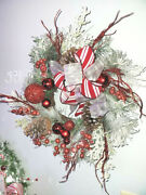 Snow Frosted Christmas Red Spiral Grapevine Wreath Ornaments Pinecones 18