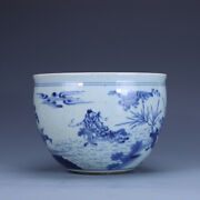 8.2 Antique Old Chinese Porcelain Qing Dynasty Blue White Character Pot