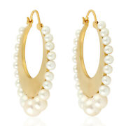 Memorial Day 32.02ct Studded Pearl Hoop Earrings 18k Yellow Gold Jewelry Gift