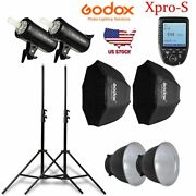 Godox 2pcs Sk400ii 400w Flash Speedlite Light Xpro-s For Sony With Softbox Stand