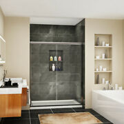 Sunny Shower 60 X 72 Bypass Sliding Shower Doors 1/4 Clear Glass Brushed Nickel