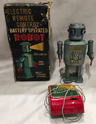 Masudaya Electric Remote Control Battery Operated Robot Japanese Tin Toy 1960's