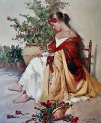 J.soper American Usa Portrait Of A Girl Flower Lady Large Antique Oil Painting