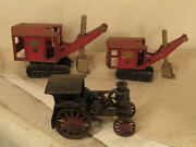 Hubley Cast Iron Generial Diggers And Avery Tractor
