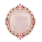 Rose Quartz And Diamond Cocktail Ring 18k Rose Gold Wedding Jewelry For Women Gift