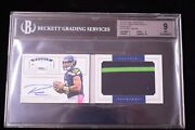 2012 National Treasures Russell Wilson Rc Auto Jumbo Patch Bgs 9/10 29 38/99