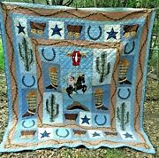 Vintage Handmade Finished Full/queen Western Americana Quilt-90x 79-unique