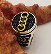 Audi Car Logo Mens Ring Solid 925 Sterling Silver Black Onyx Stone All Size