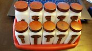 Vintage Griffithand039s Milk Glass Spice Jars 10 Bottles W/lids And Rack