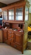 Beautiful Ashley Brand Oak Buffet With Leaded Glass And Lighted China