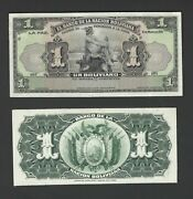 Bolivia Face And Back One Boliviana 11-05-1911 P103s Proof Aunc-unc