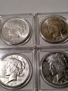 4 Peace Silver Dollars 1922p, 1923p, 1924p, 1925p In Ms