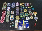Lot 100 + Vintage Boy Scout Girl Scout Cub Patches 90s Pins Key Ring Book Mark