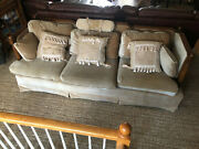 Vintage Mid Century Velvet Sofa And Love Seat Broyhill Upholstery Pillows
