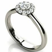 Solitaire Halo Diamond White Solid Gold Engagement Wedding Ring 18k New