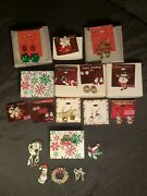Lot Of Sears Happy Holiday Wreath Brooch Pin Christmas Cat Bow Ring Earrings