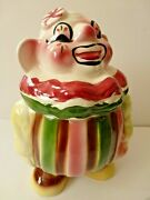 Deforest Usa Clown Red And Green Cookie Jar 1950's Ceramic 12 H Yellow Brown