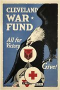 Original Vintage Poster Cleveland War Fund All For Victory Give Wwii Ymca Linen