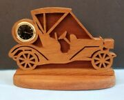 Collectible Car-buff Laser Wood Carved Antique-style Car With Clock Small 8x6